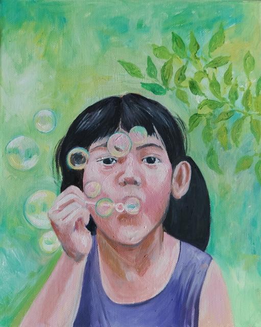 deklica z milnimi mehurčki, 35×25,olje na platnu, 2019